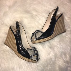 Prada black espadrille wedges with denim bow